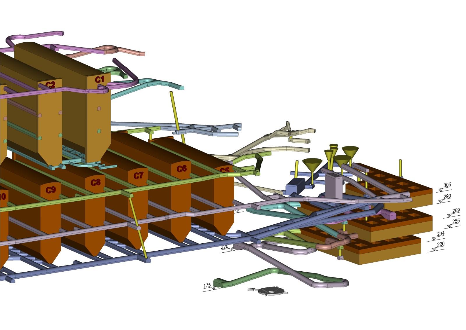 Rappresentazione 3D delle camere di coltivazione e delle gallerie di accesso