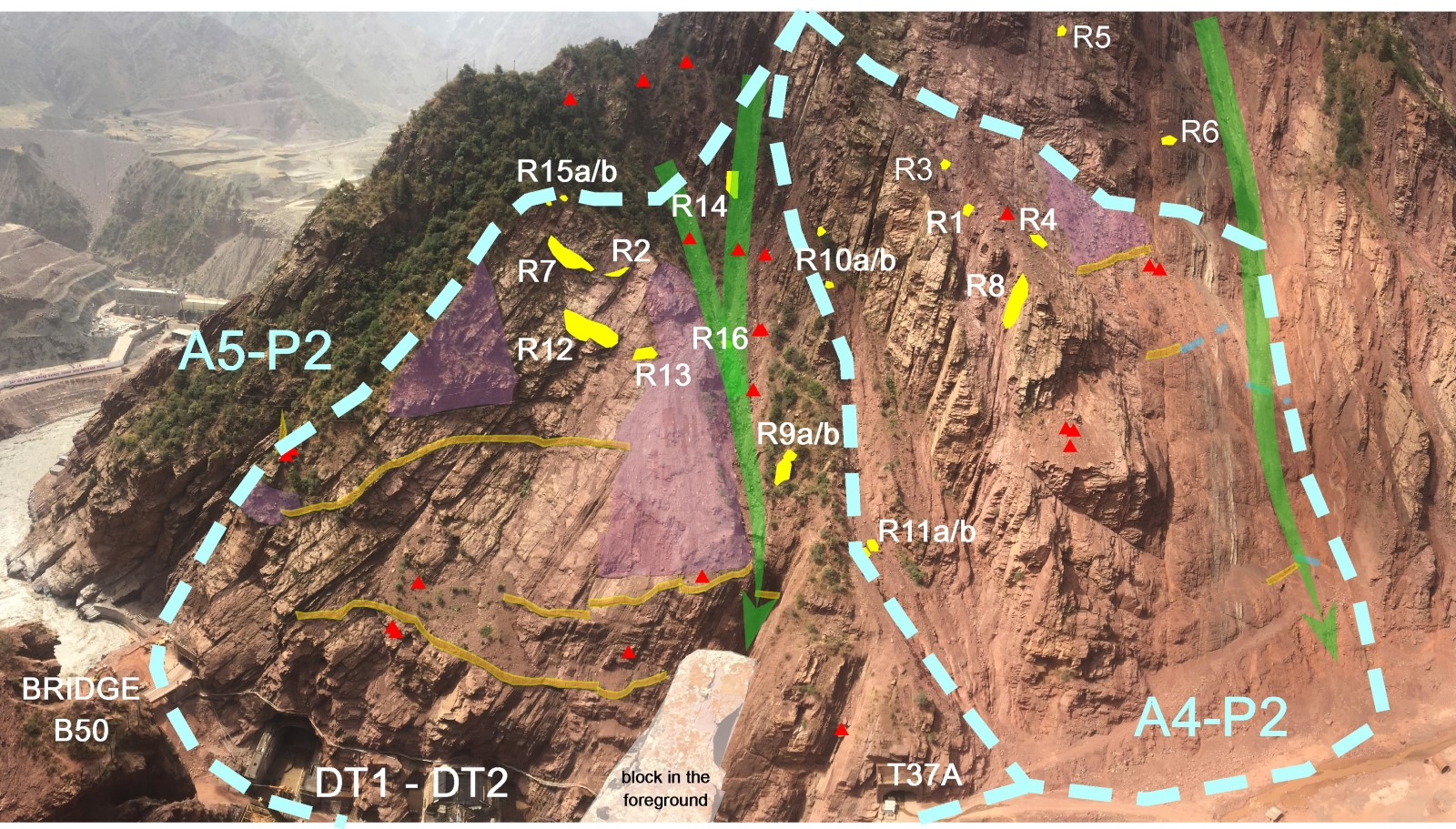 Valutazione del rischio di crollo di una parete sovrastante una diga
