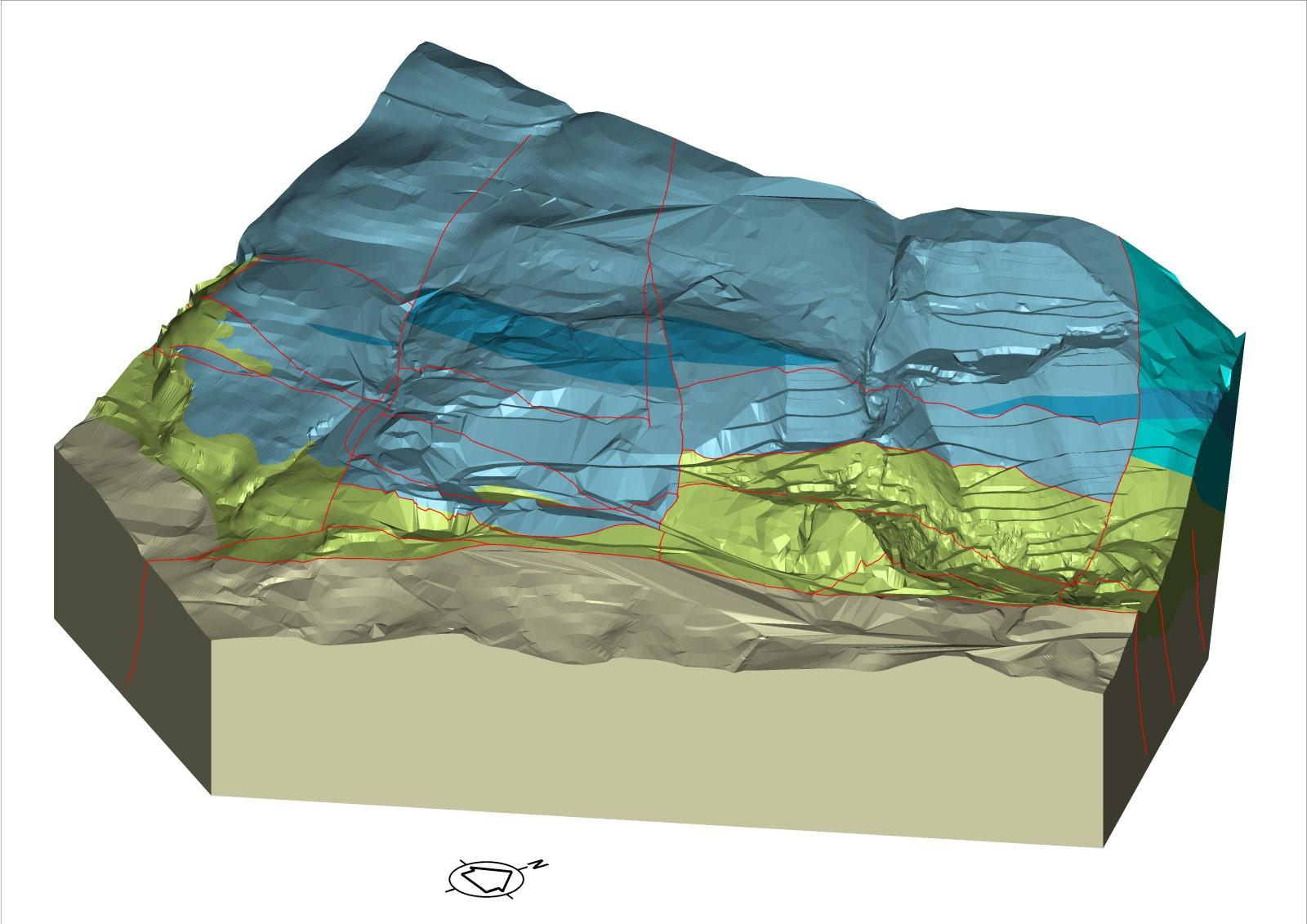 Modello 3D di un giacimento minerario
